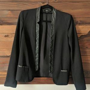Black Blazer w Faux Leather Trim
